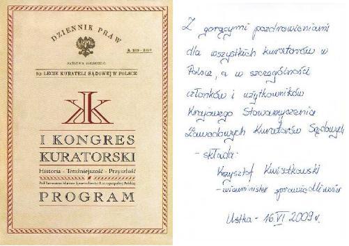 Dedykacja odPana Wiceministra Krzysztofa Kwiatkowskiego