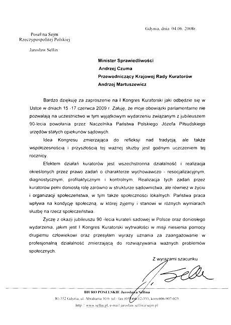 List posła Jarosława Sellina naIKongres Kuratorski