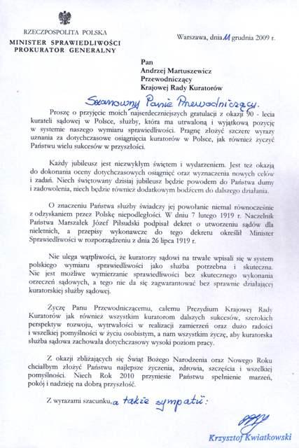 List gratulacyjny Pana Ministra Sprawiedliwości
