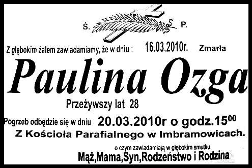 Ś.p. Paulina Ozga