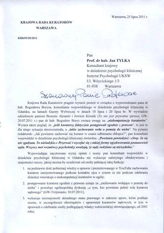Skan pierwszej strony protestu KRK ws. wypowiedzi Konsultanta wojewódzkiego wGdańsku