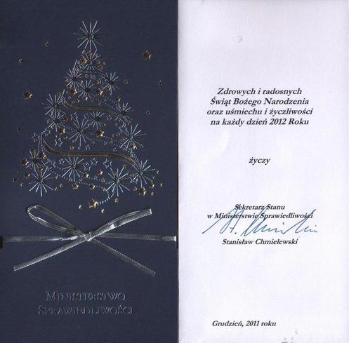 Życzenia świąteczno-noworoczne zMinisterstwa Sprawiedliwości.