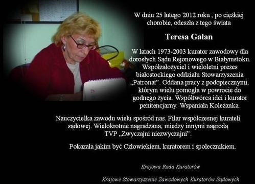 Pożegnanie Teresy Gałan